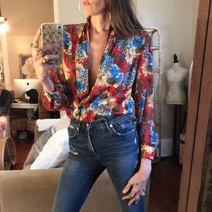 Vintage plunging floral blouse